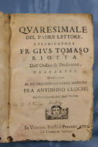 G. T. Riotta, Quaresimale 1705